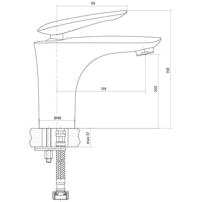 Bateria umywalkowa stojąca Cersanit Mayo rysunek techniczny