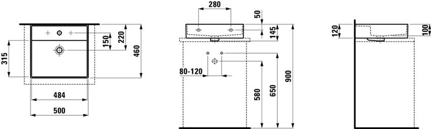 Umywalka ścienna/nablatowa 50 cm Laufen Kartell rysunek techniczny