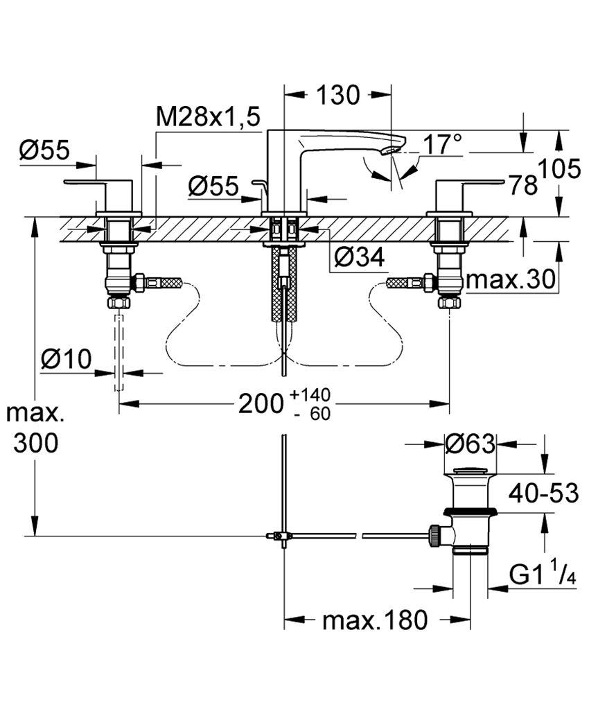 3-otworowa bateria umywalkowa rozmiar S Grohe Eurostyle Cosmopolitan rysunek techniczny