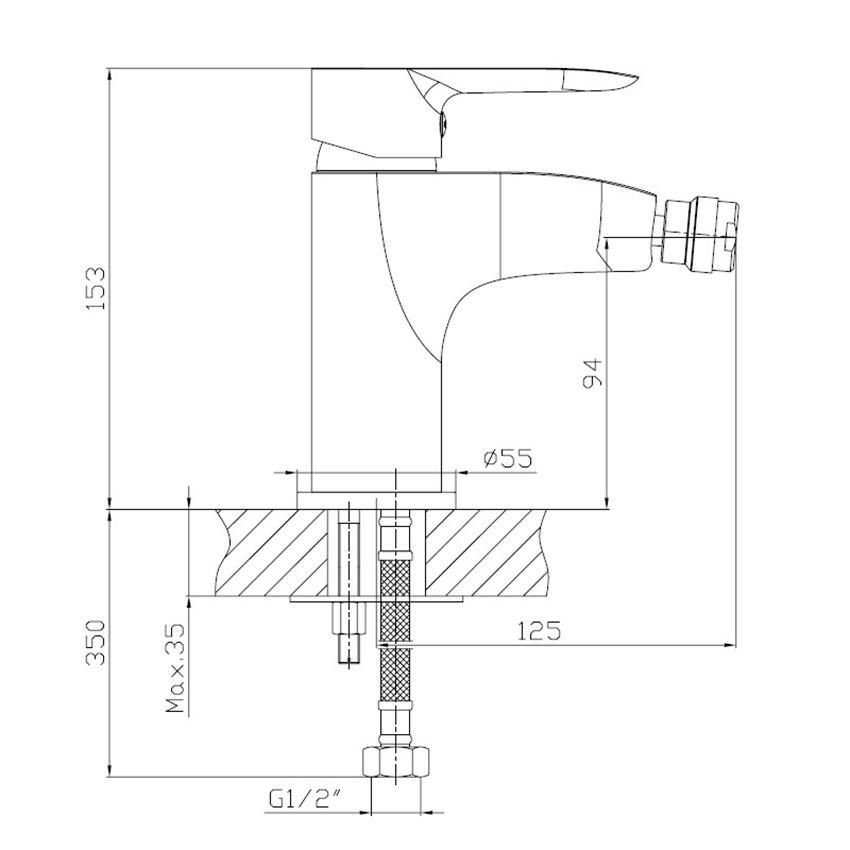 Rysunek techniczny baterii bidetowej sztorcowej Omnires Mackenzie