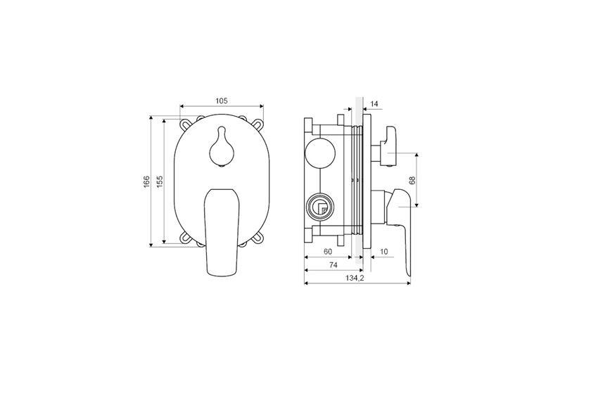 Bateria wannowo-prysznicowa podtynkowa Excellent Clever rysunek techniczny