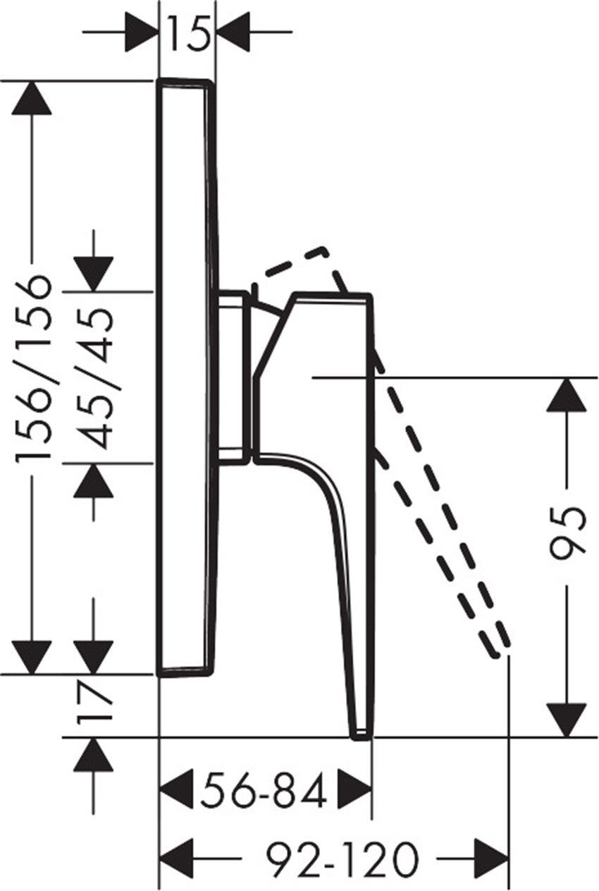 Jednouchwytowa bateria prysznicowa montaż podtynkowy element zewnętrzny Hansgrohe Metropol  rysunek technicznyrysunek techniczny