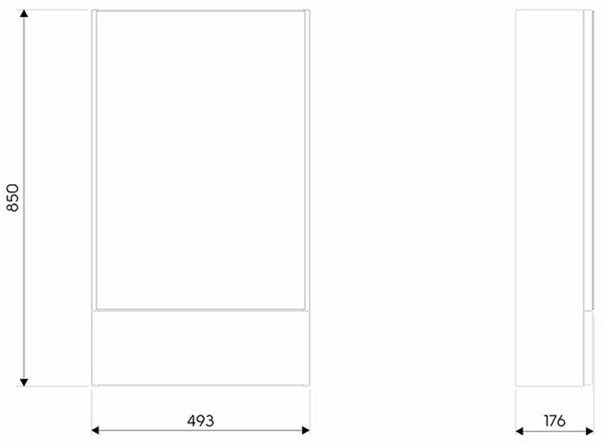 Szafka wisząca z lustrem 49,3x85x17,6 cm Koło Nova Pro  rysunek techniczny