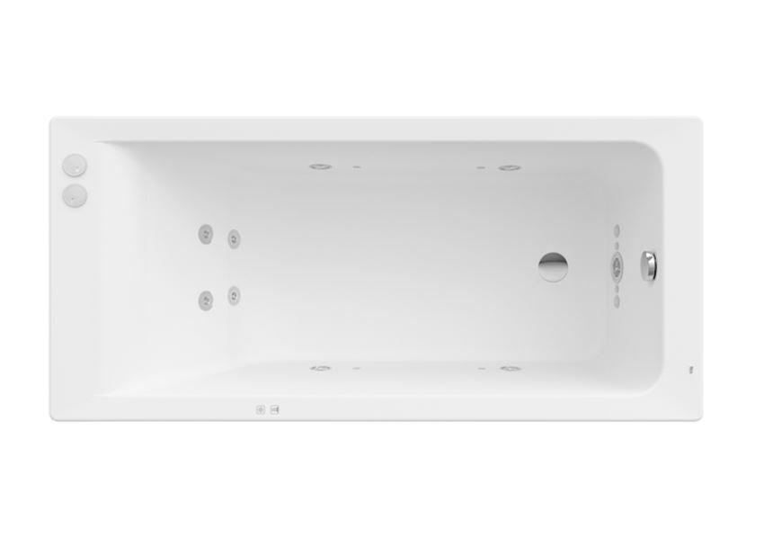 Prostokątna wanna akrylowa z hydromasażem Smart Water Plus 160x75x42 cm Roca Easy