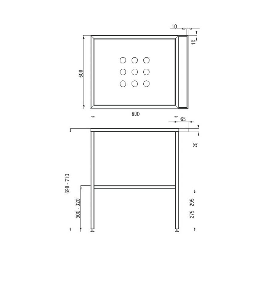 Umywalka nablatowa z konsolą stojącą Deante Hiacynt rysunek techniczny