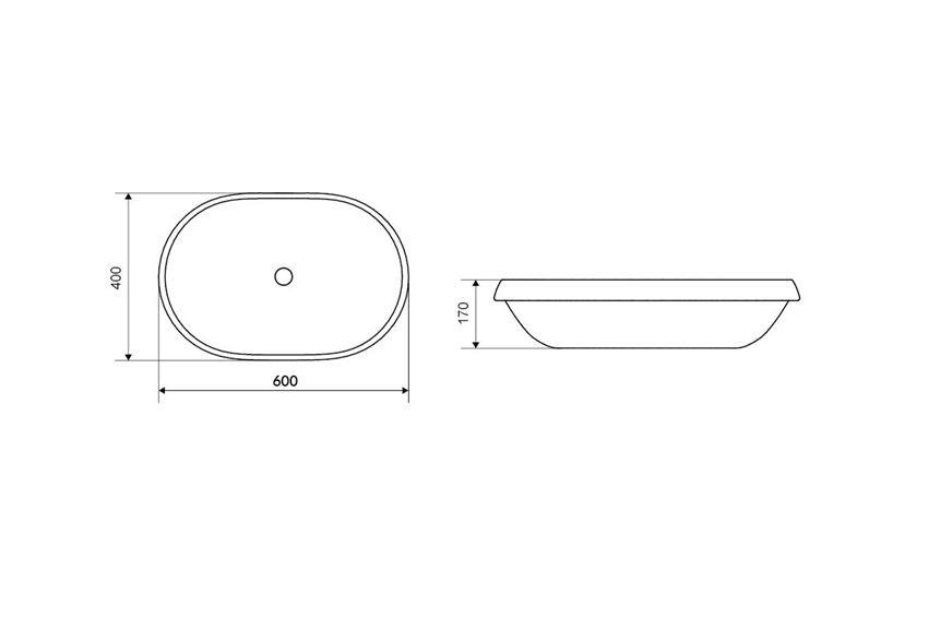 Umywalka wpuszczana w blat 60 cm Excellent Lupio rysunek techniczny