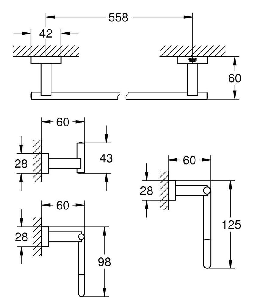 Zestaw akcesoriów łazienkowych 4 w 1 Grohe Essentials Cube rysunek techniczny