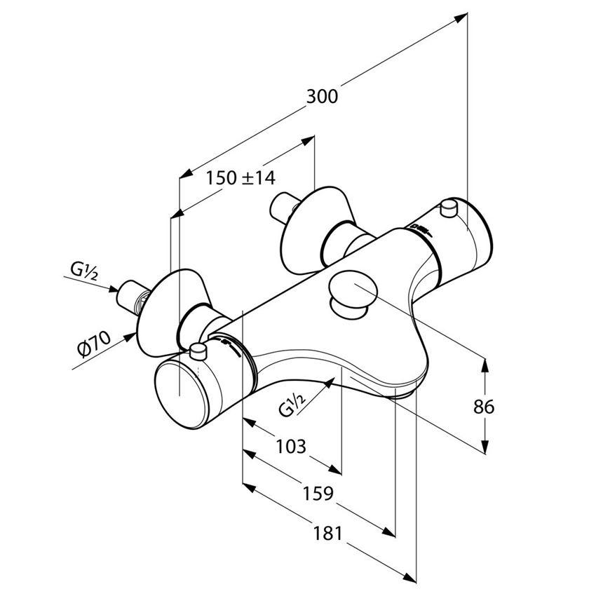Dwuuchwytowa bateria wannowo-prysznicowa Kludi Ambienta rysunek techniczny