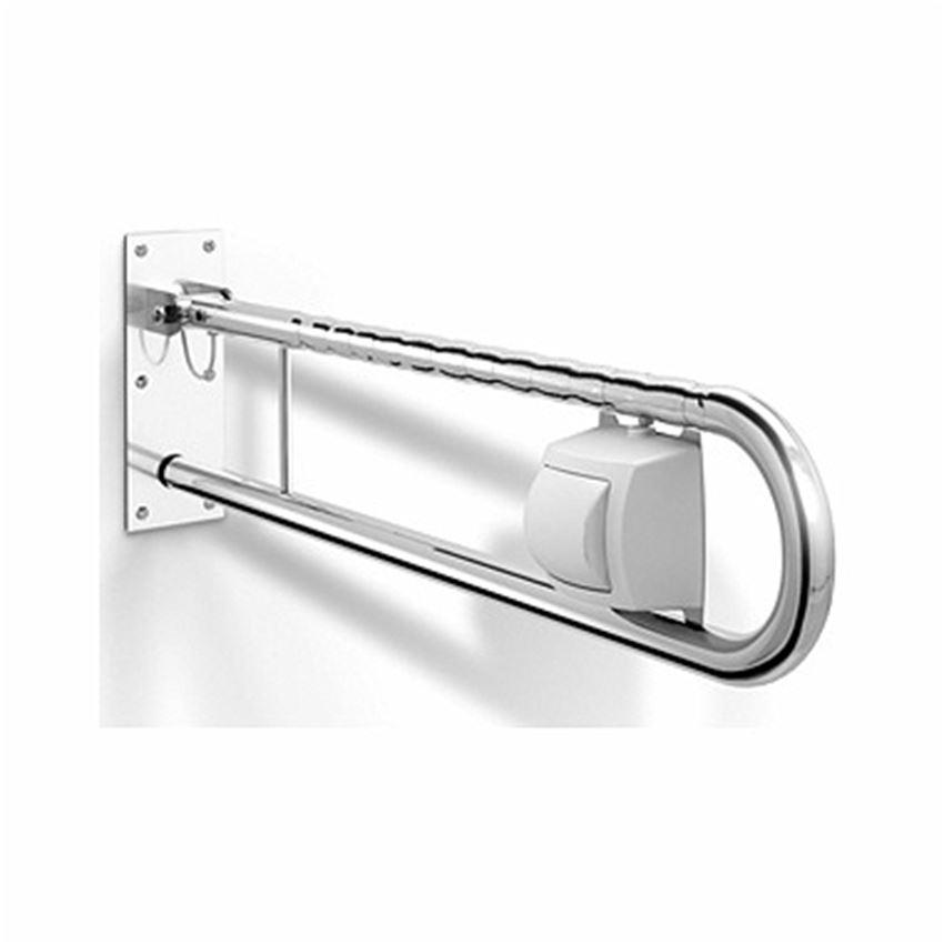 Poręcz WC ścienna uchylna prawa z przyciskiem do spłukiwania wody Koło Lehnen Funktion