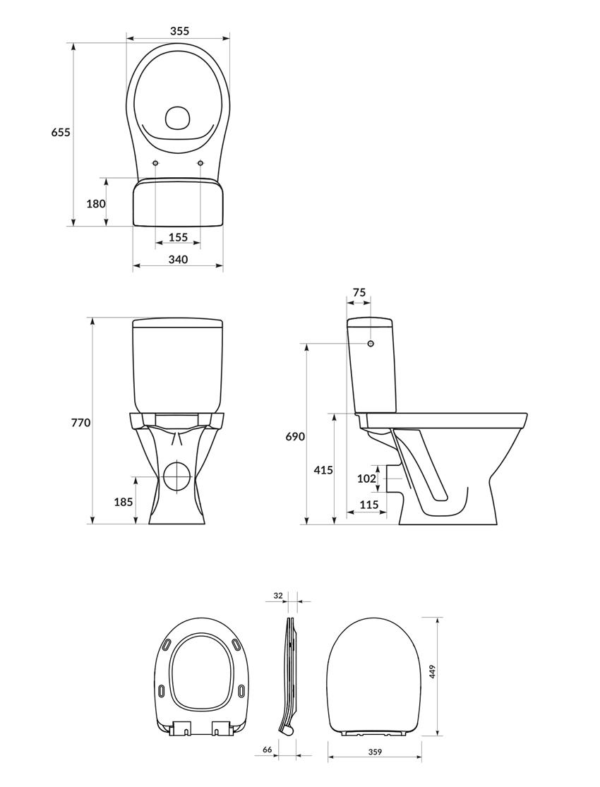 Kompakt WC SimpleOn z deską Slim wolnoopadającą Cersanit Cersania rysunek