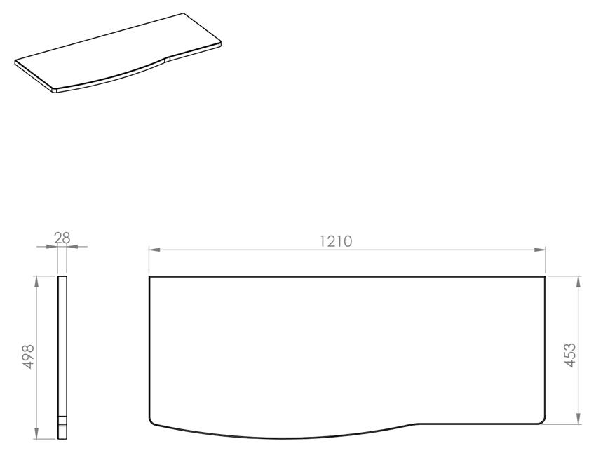 Blat naszafkowy pełny 121 cm Elita Rolly rysunek