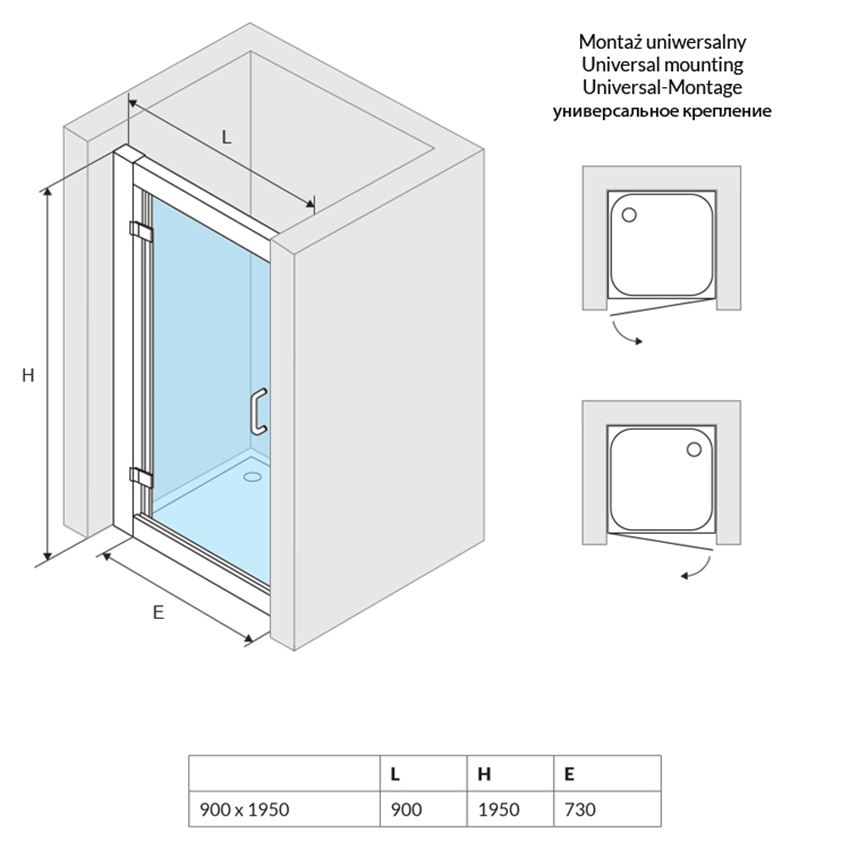 Drzwi do zabudowy 90x1950 cm Excellent Seria 600 rysunek techniczny