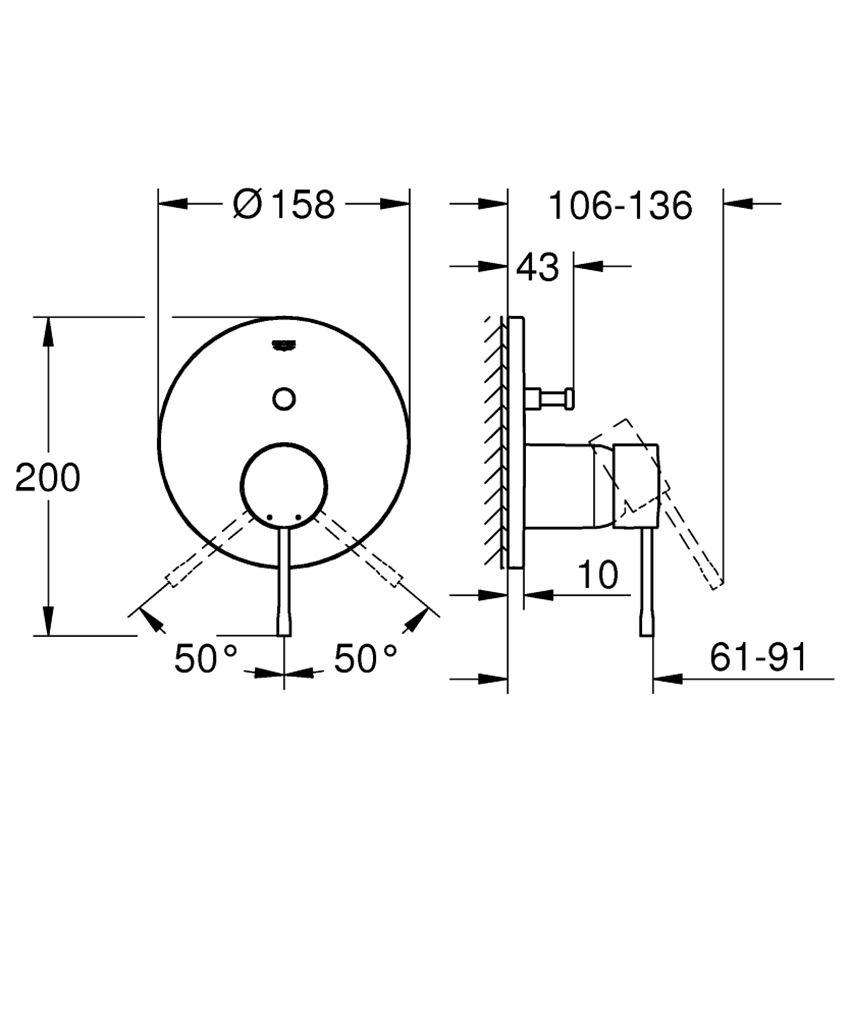Jednouchwytowa bateria wannowa Grohe Essence rysunek techniczny