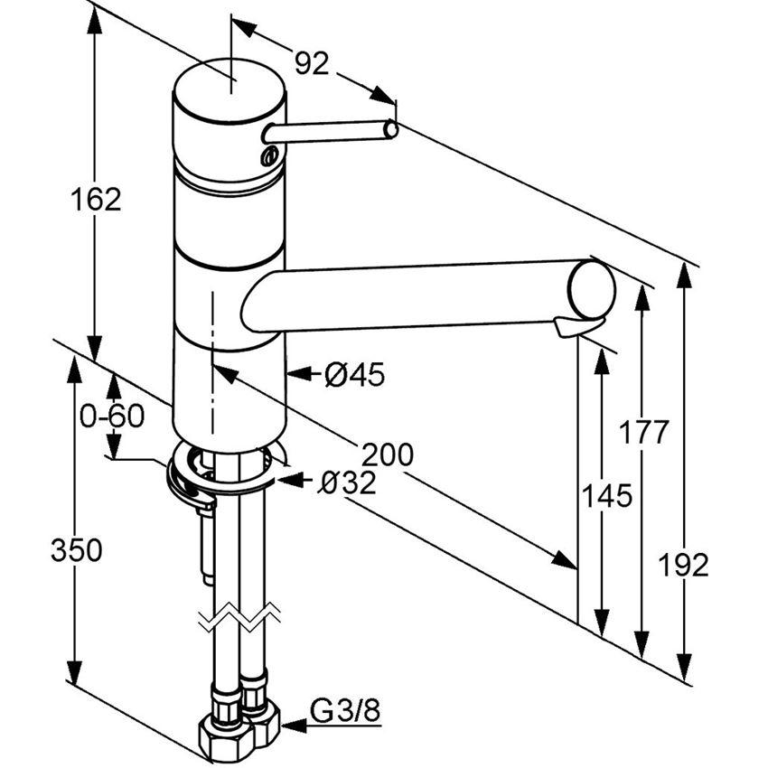 Jednouchwytowa bateria kuchenna 16,2 cm Kludi Scope rysunek techniczny