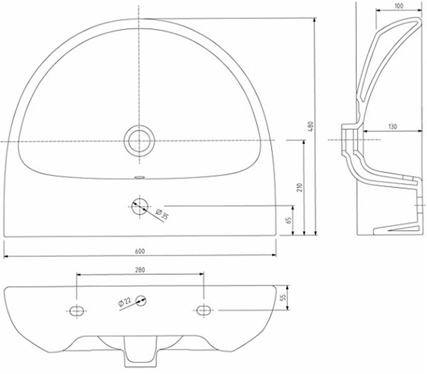 Umywalka półokrągła 60 cm Koło Nova Pro rysunek techniczny