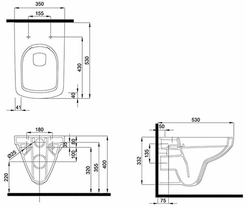 Zestaw Technic GT All in One miska wisząca Nova Pro Rimfree przycisk Elegant chrom Koło Technic GT rysunek