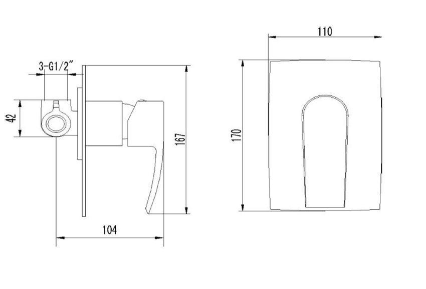 Bateria prysznicowa podtynkowa Omnires Murray rysunek techniczny
