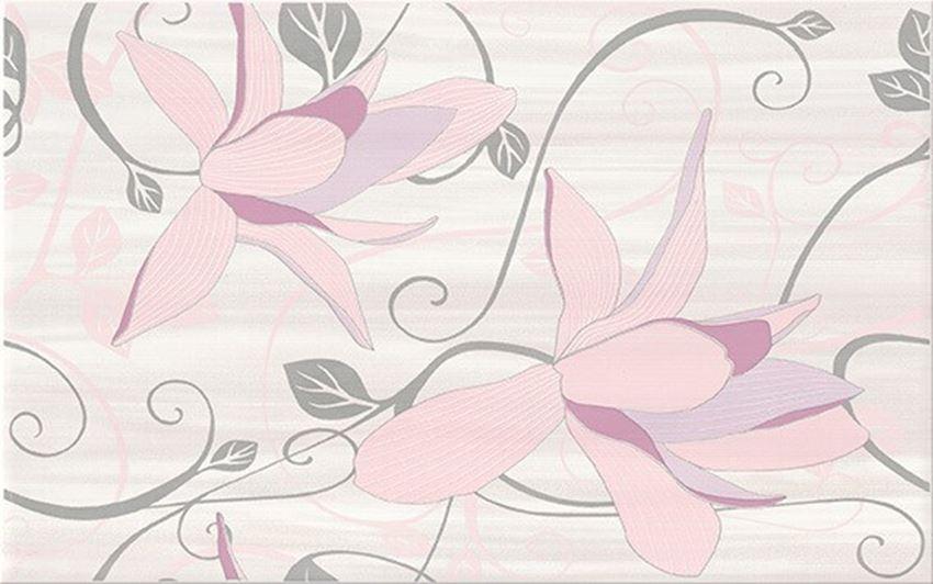 Płytka dekoracyjna 25x40 cm Cersanit Artiga lawenda inserto flower