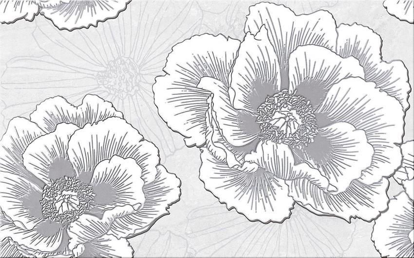 Płytka dekoracyjna 25x40 cm Cersanit Ferrata grey inserto flower