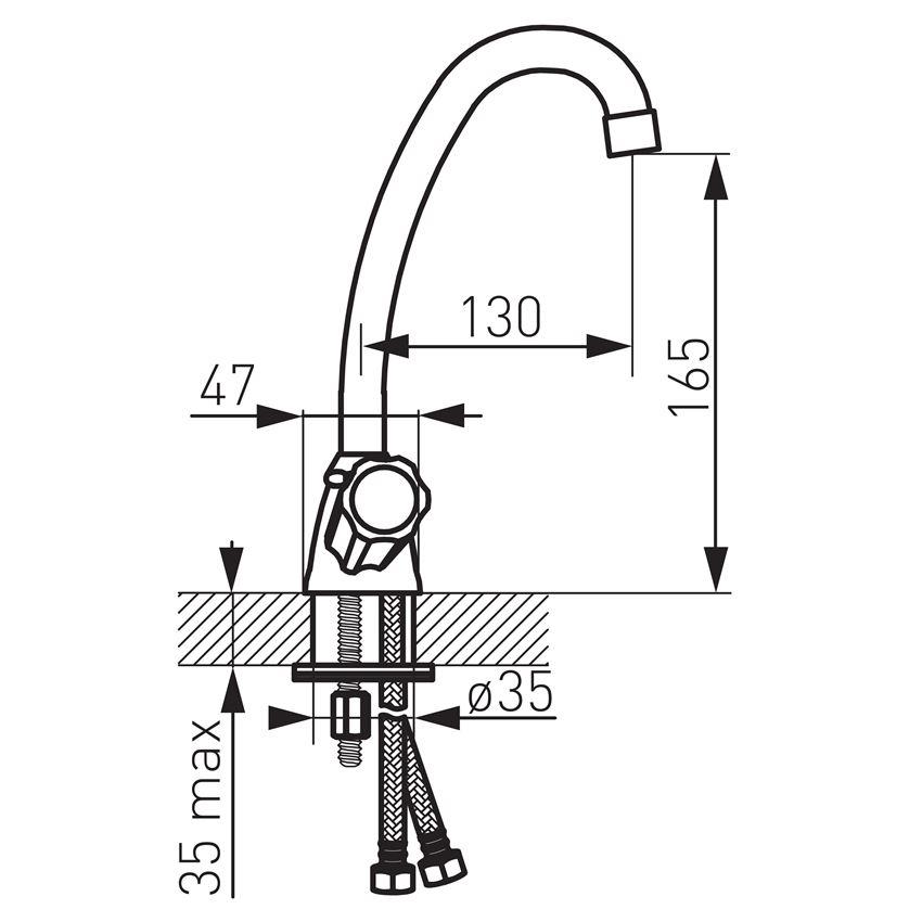 Bateria umywalkowa stojąca Ferro Standard rysunek techniczny