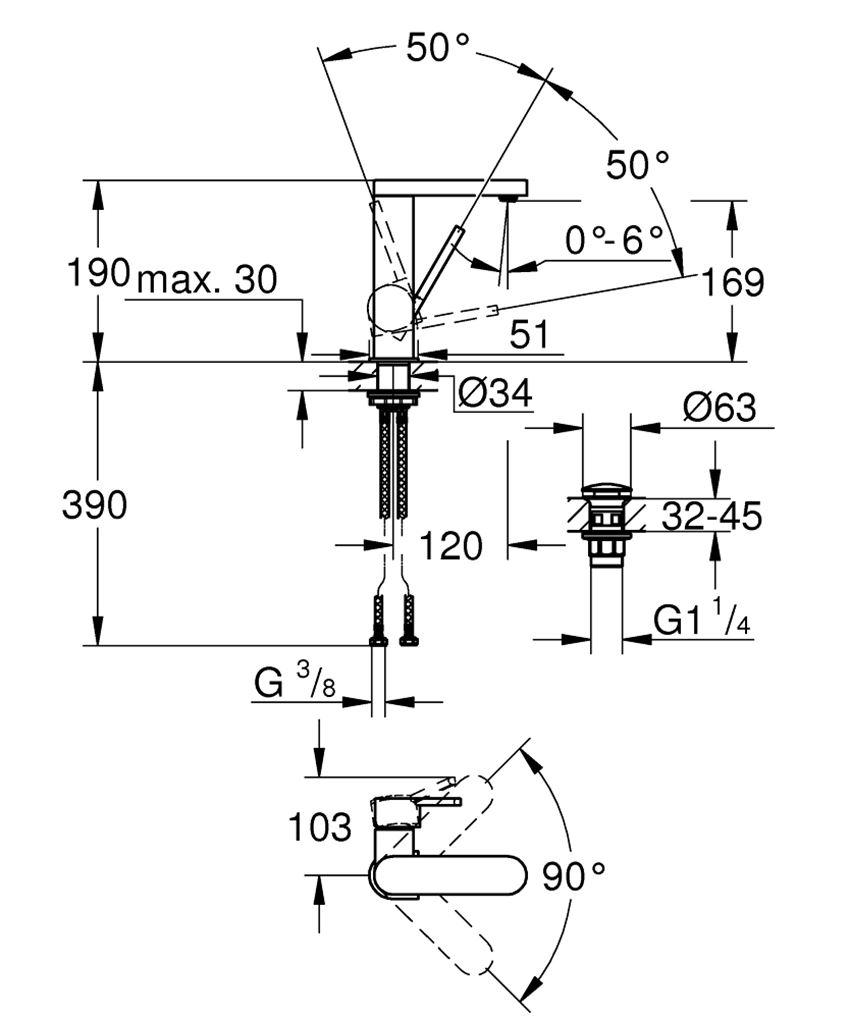 Jednouchwytowa bateria umywalkowa rozmiar M Grohe Plus rysunek techniczny