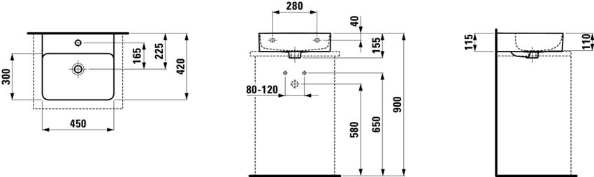 Umywalka ścienna/nablatowa 45x42x11,5 cm Laufen Val rysunek techniczny