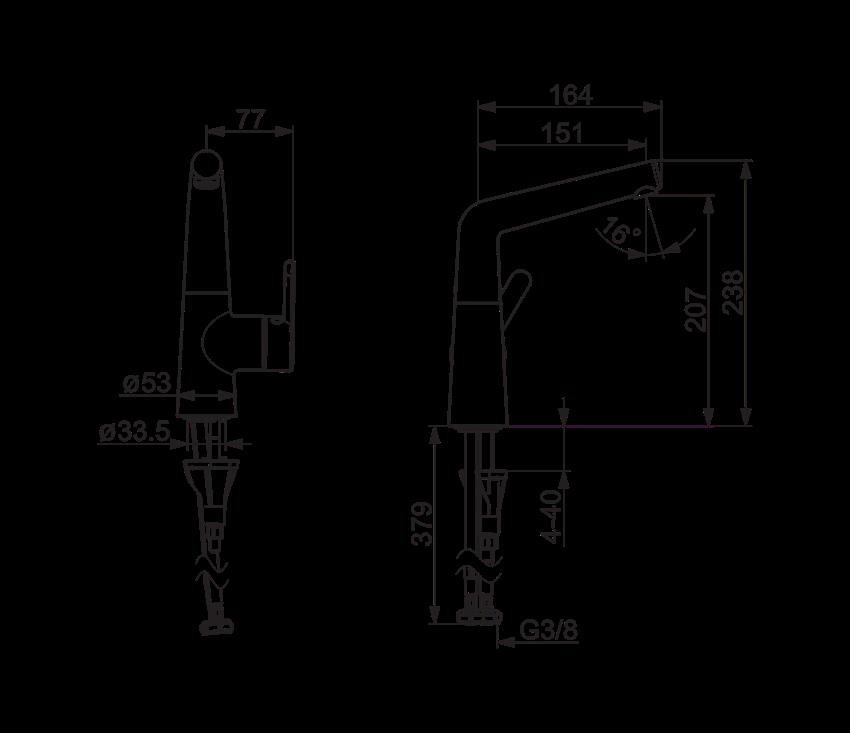 Bateria umywalkowa Oras Inspera rysunek techniczny