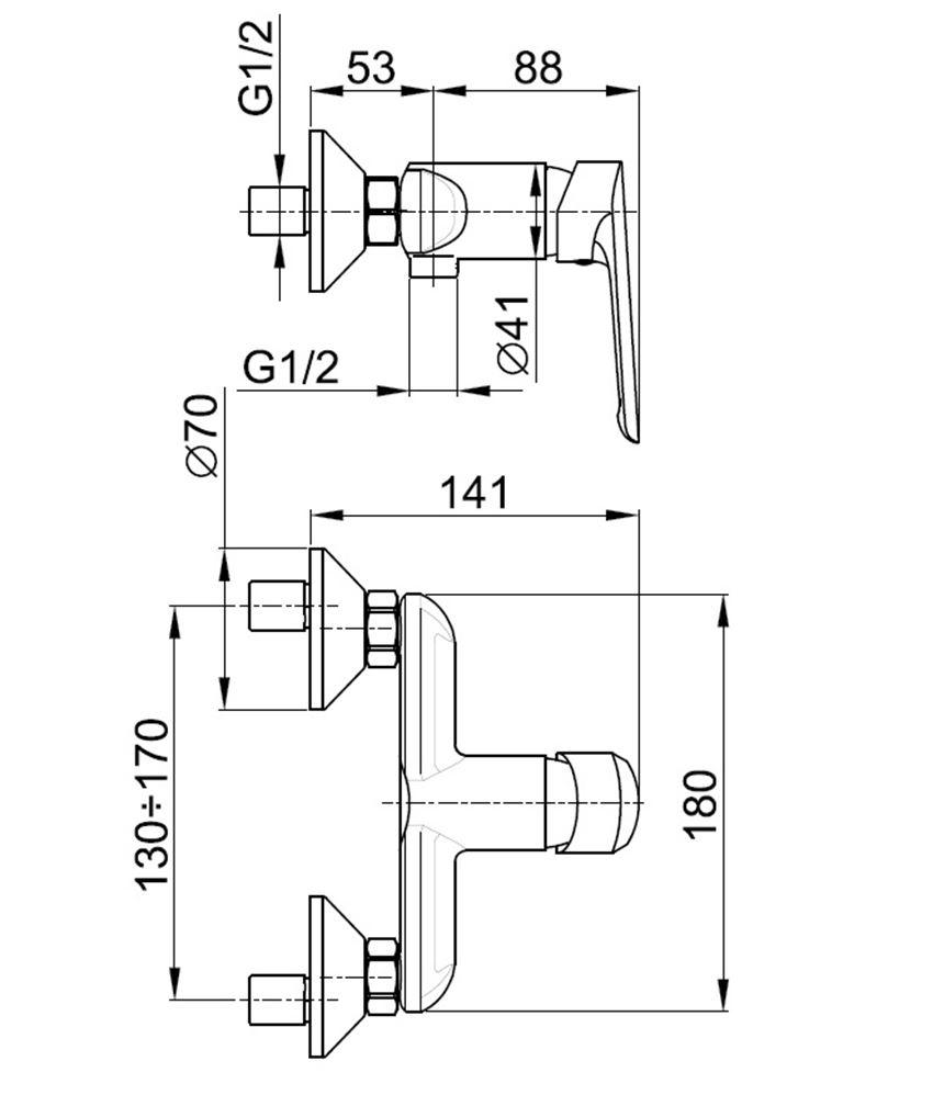 Jednouchwytowa bateria prysznicowa KFA Tanzanit rysunek techniczny