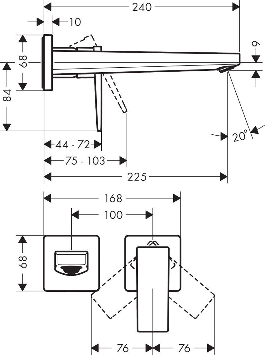 Jednouchwytowa bateria umywalkowa podtynkowa wylewka 22,5 cm element zewnętrzny Hansgrohe Metropol rysunek techniczny