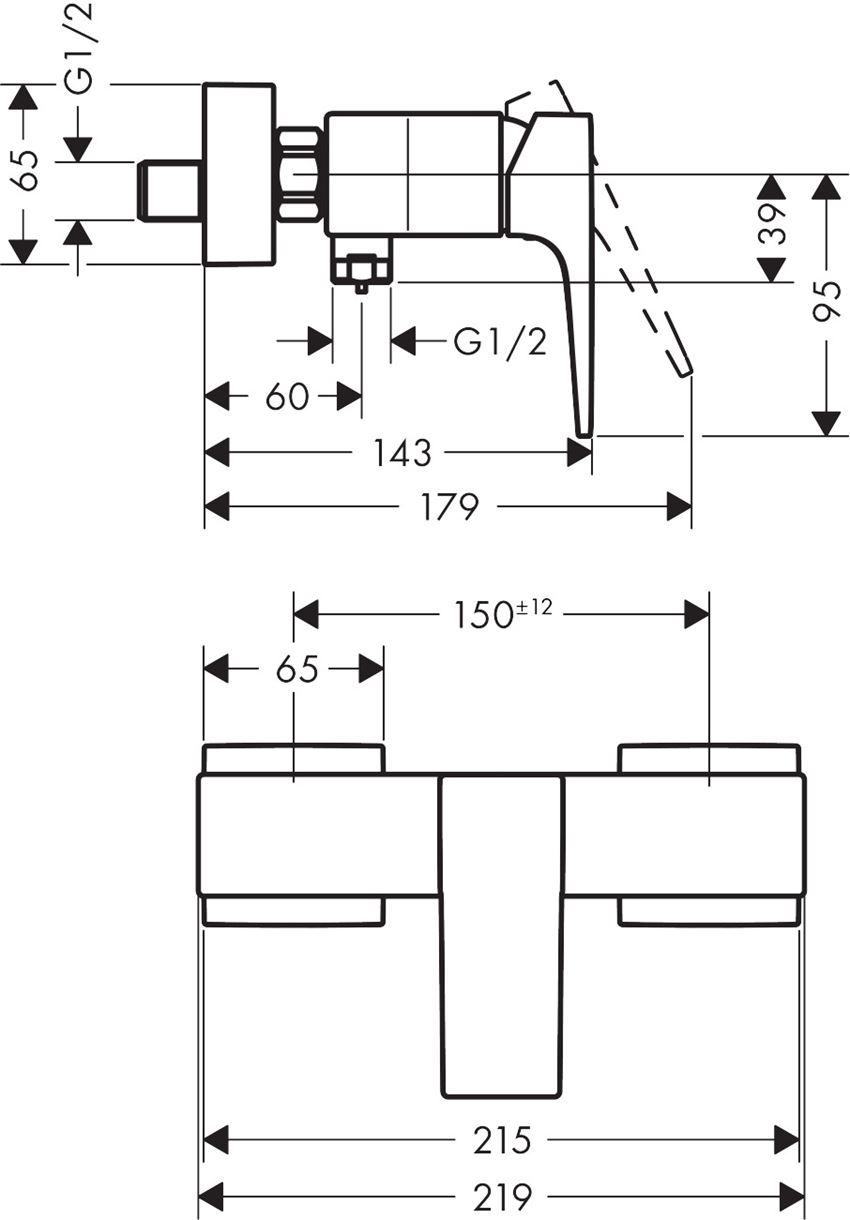 Jednouchwytowa bateria prysznicowa montaż natynkowy Hansgrohe Metropol rysunek techniczny