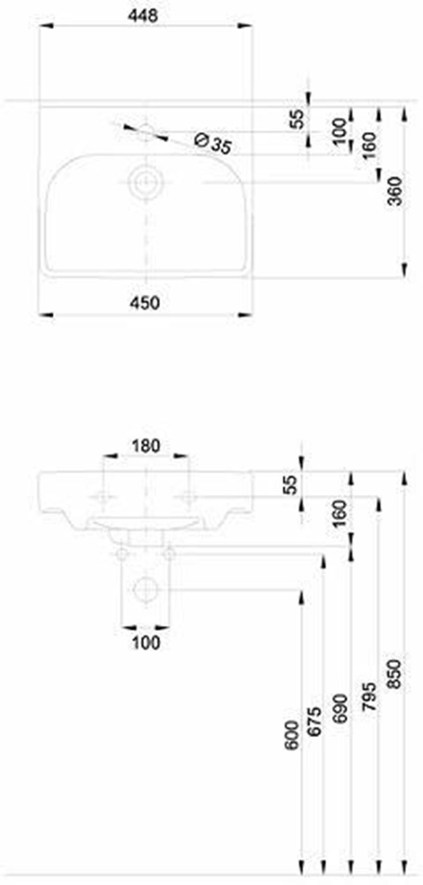 Umywalka meblowa45 cm Koło Traffic rysunek techniczny