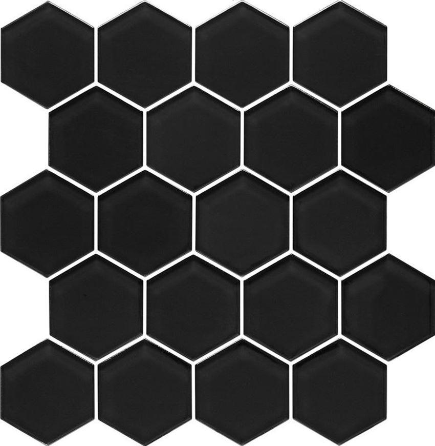 Mozaika szklana 28x25,8 cm Paradyż Uniwersalna Mozaika Szklana Nero Heksagon