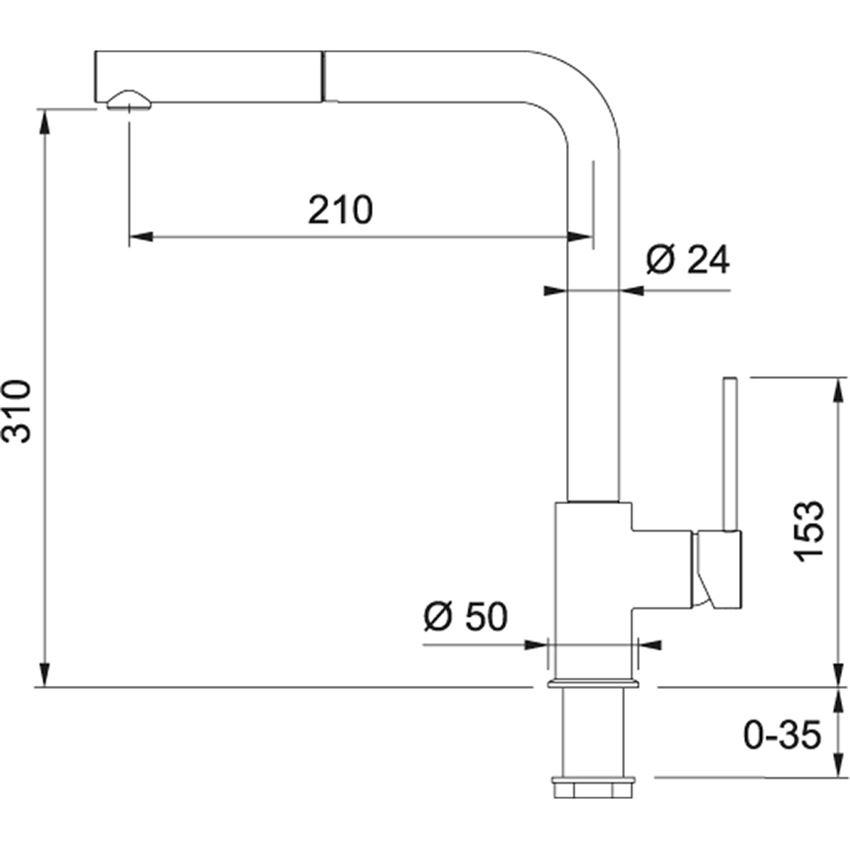 Jednouchwytowa bateria kuchenna Franke Sirius Side rysunek techniczny