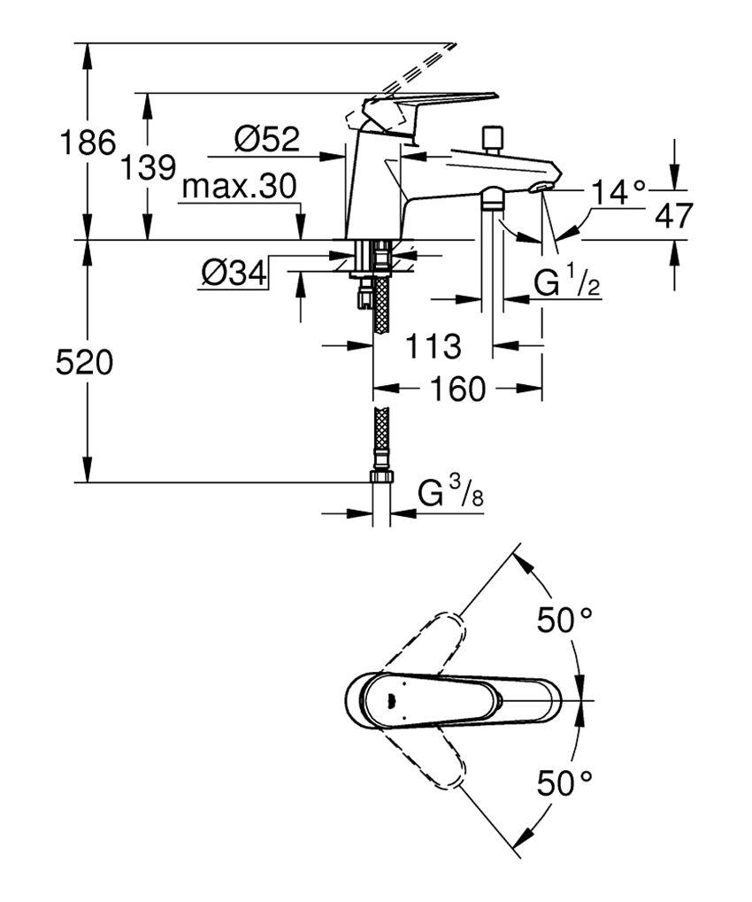 Jednouchwytowa bateria wannowa Grohe Eurodisc Cosmopolitan rysunek techniczny