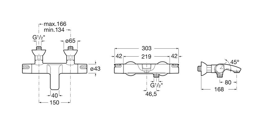Bateria wannowo-prysznicowa ścienna Roca T-500 rysunek techniczny