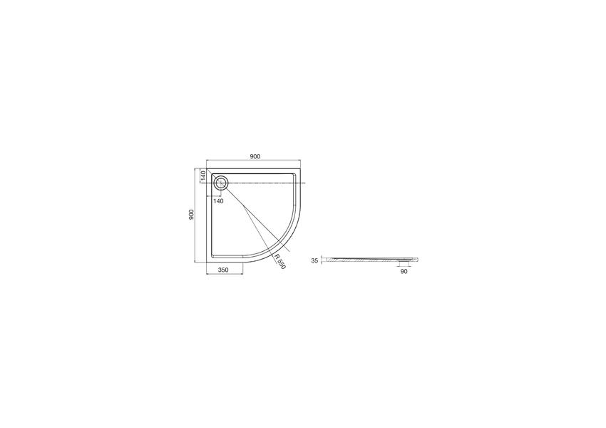 Brodzik półokrągły 90x90x3,5 cm rysunek techniczny