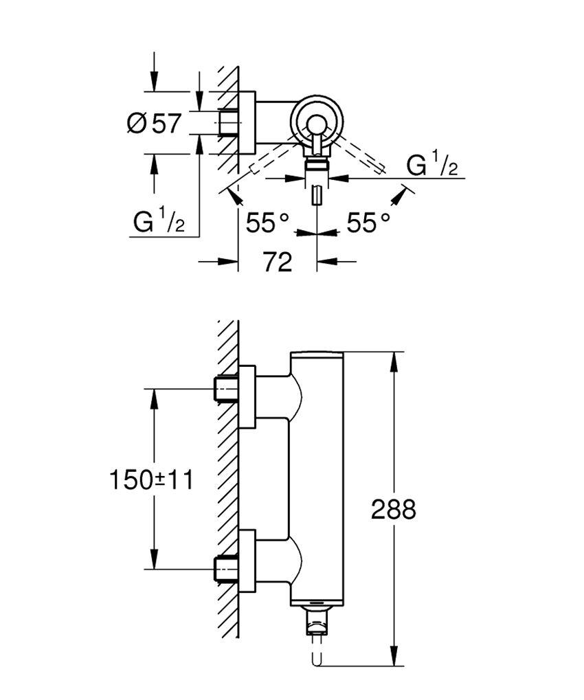 Jednouchwytowa bateria natryskowa ścienna Grohe Atrio rysunek techniczny