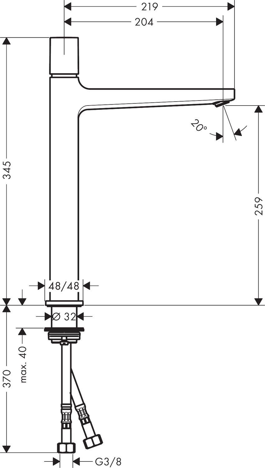 Bateria umywalkowa 260 Select z kpl. odpływowym Push-Open Hansgrohe Metropol rysunek techniczny