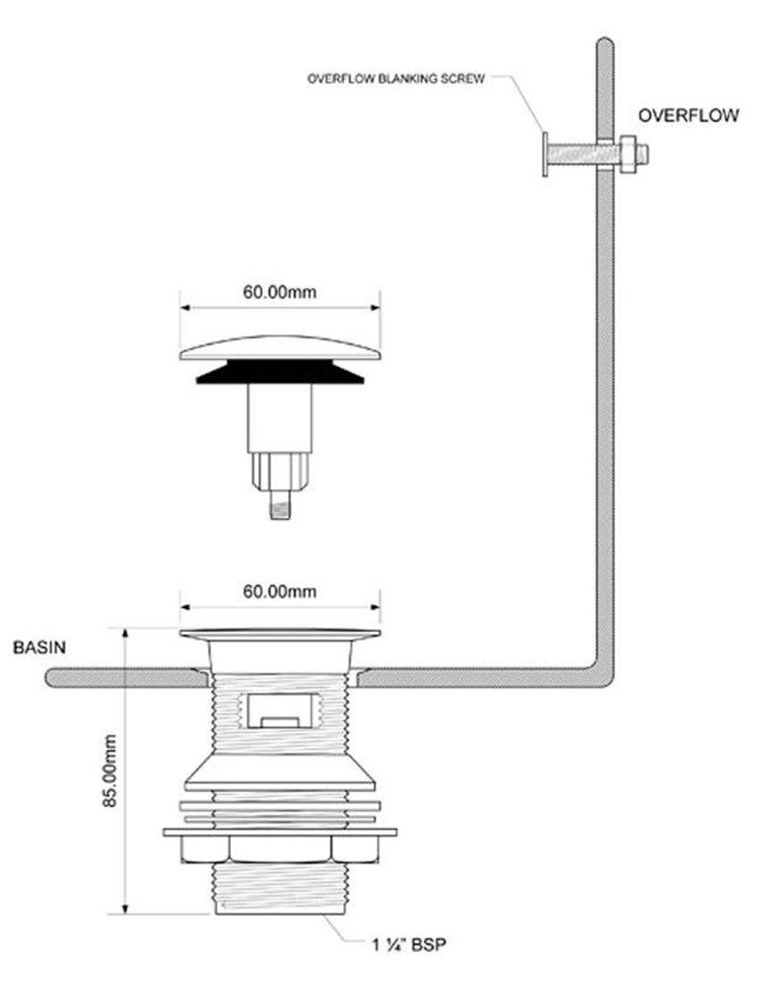 Spust umywalkowy z serii GLASGOW McAlpine rysunek techniczny