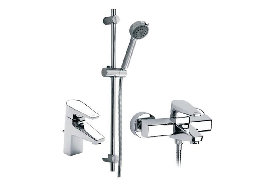 Zestaw baterii umywalkowo-wannowo-prysznicowych 3 w 1 Roca Esmai
