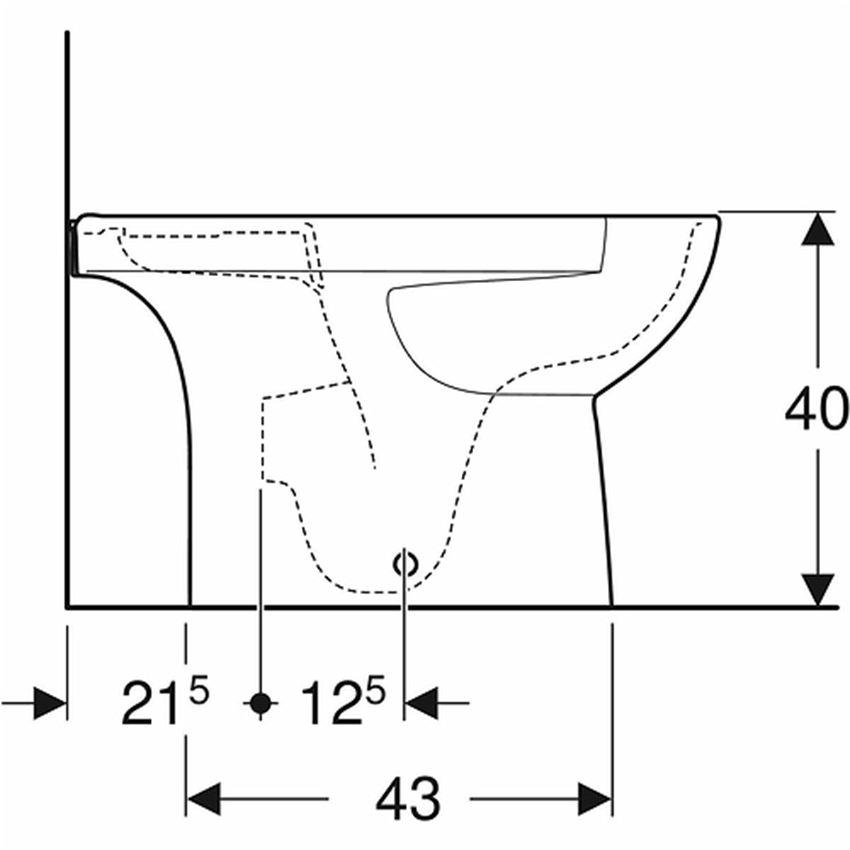 MMiska kompaktowa owalna Rimfree bez deski odpływ uniwersalny Koło Nova Pro Premium rysunek