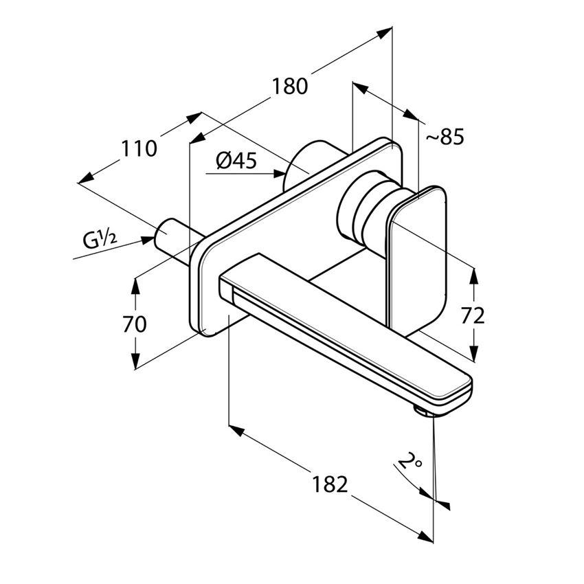 Bateria umywalkowa zestaw elementów zewnętrznych Kludi E2 rysunek techniczny