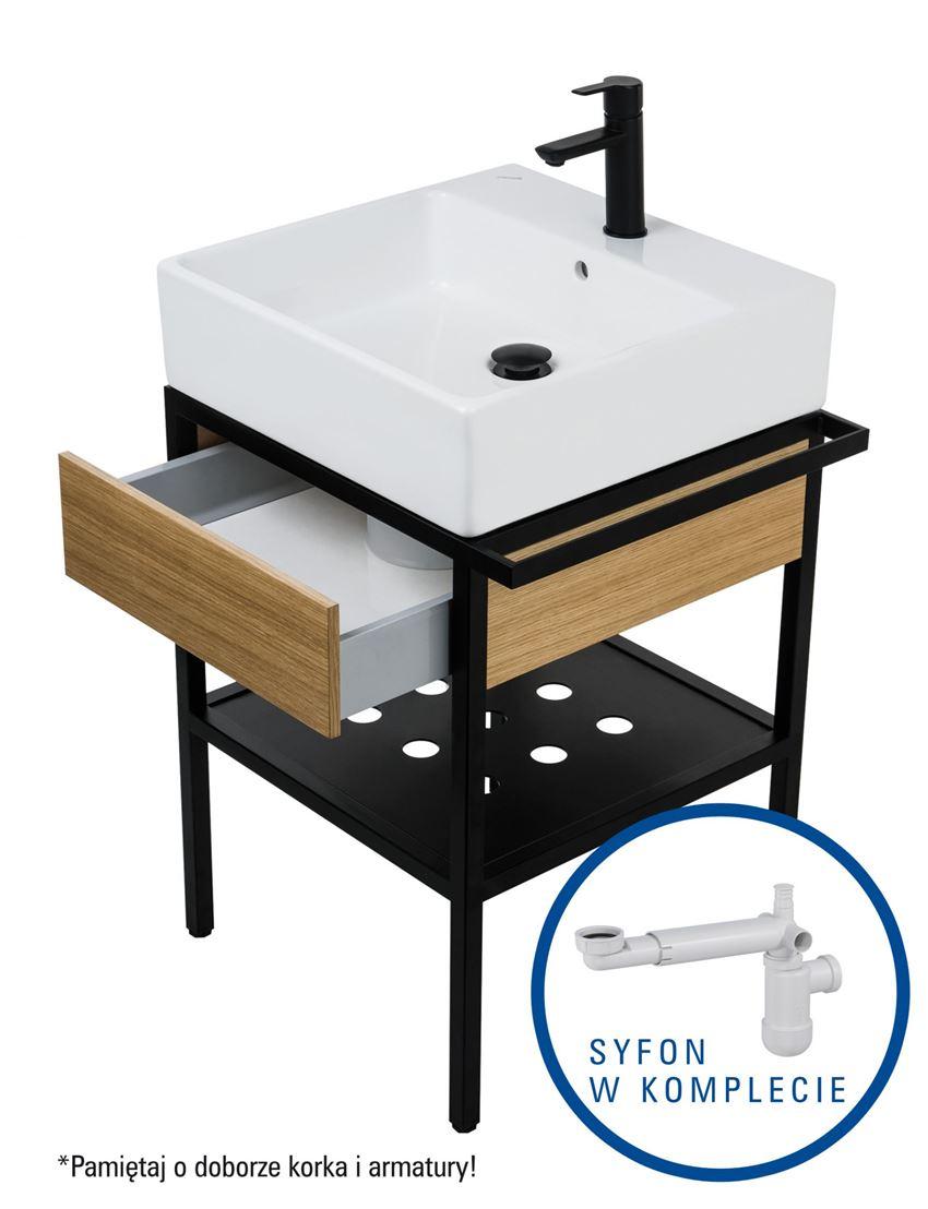 Umywalka z konsolą łazienkowa z szufladą + syfon space saver 56x50 cm Deante Temisto