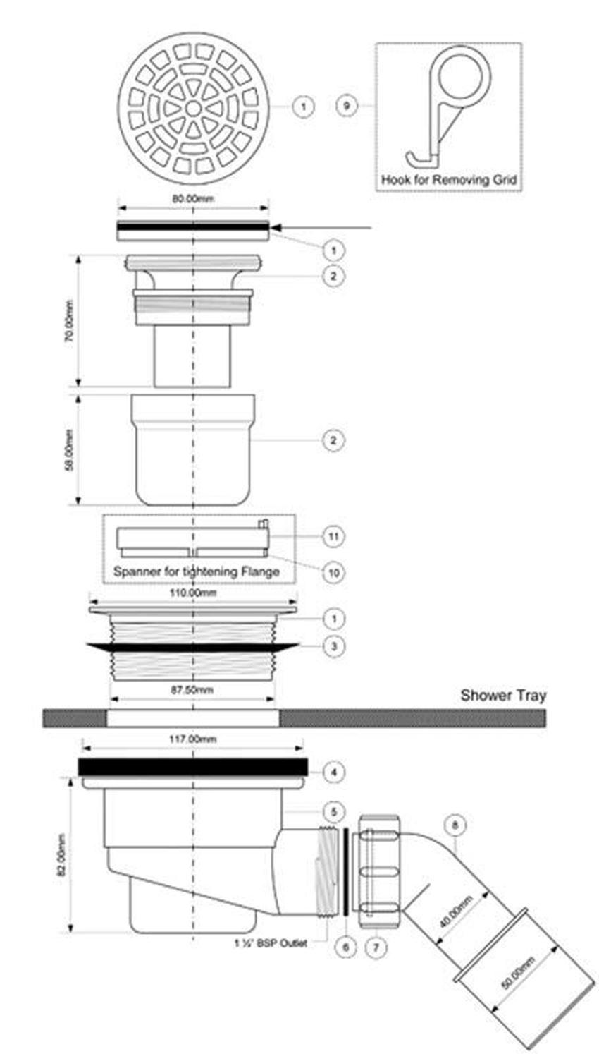 Syfon brodzikowy McAlpine rysunek techniczny
