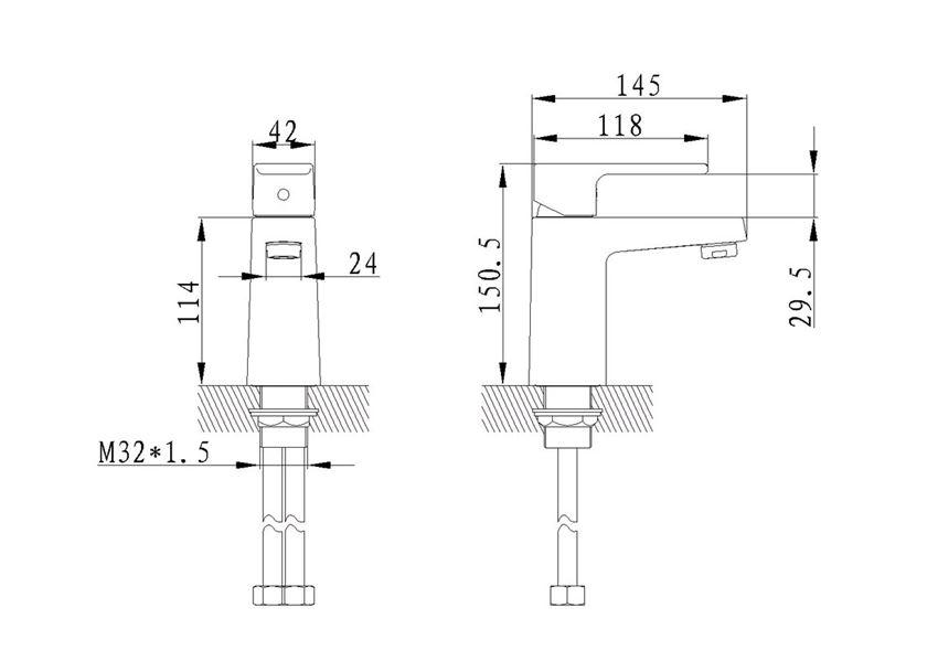 Bateria umywalkowa z korkiem click-clak Excellent Square rysunek techniczny