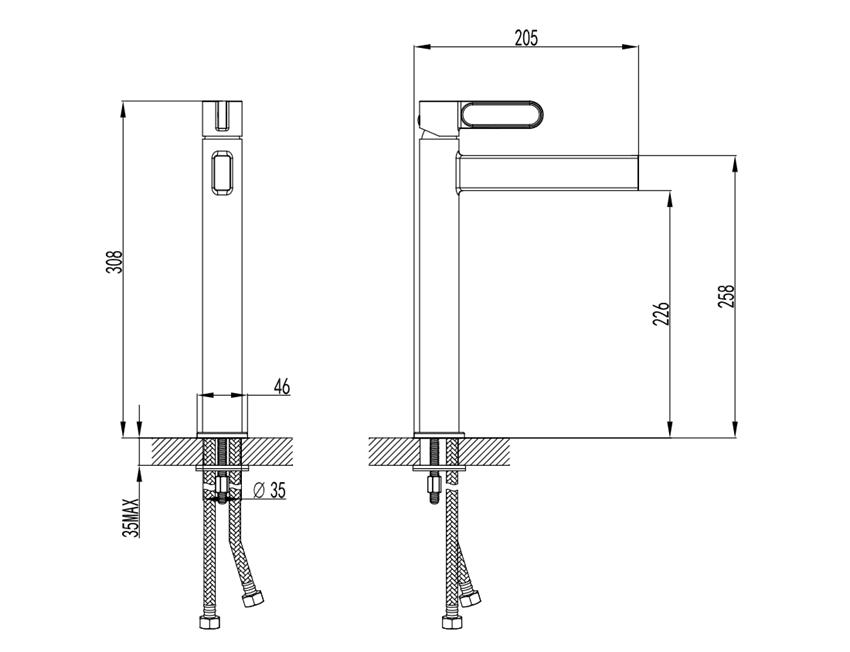 Bateria umywalkowa wysoka FDesign Zaffiro rysunek