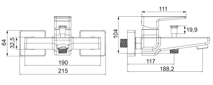 Bateria wannowa, natynkowa Omnires Parma rys.techniczny