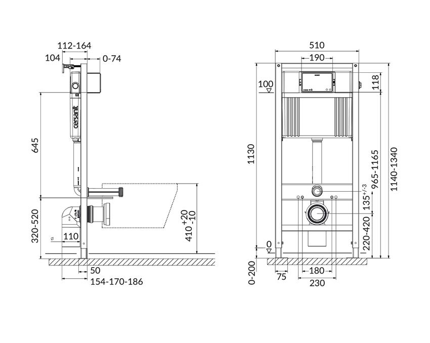 Stelaż podtynkowy do WC do zabudowy suchej Cersanit Aqua rysunek