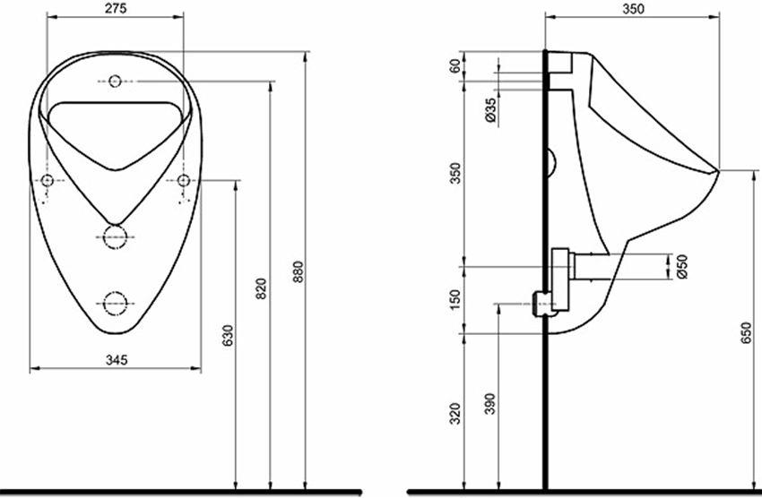 Pisuar dopływ z tyłu Koło Nova Pro Felix rysunek techniczny