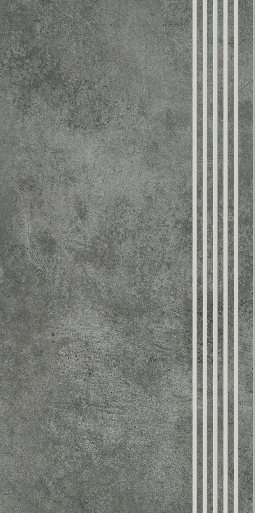 Płytka stopnicowa 29,8x59,8 cm Paradyż Scratch Nero Stopnica Prosta Nacinana Półpoler